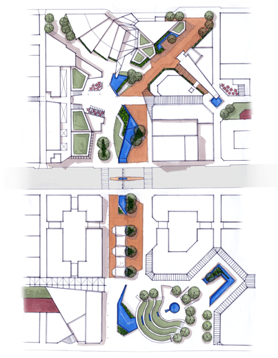 Urban site plan showing interconnecting outdoor urban spaces.