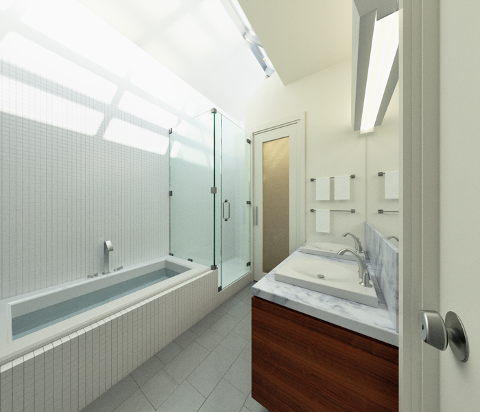 The shower and bathtub in the master bathroom on the third floor are awash in light from the rooftop light monitor.