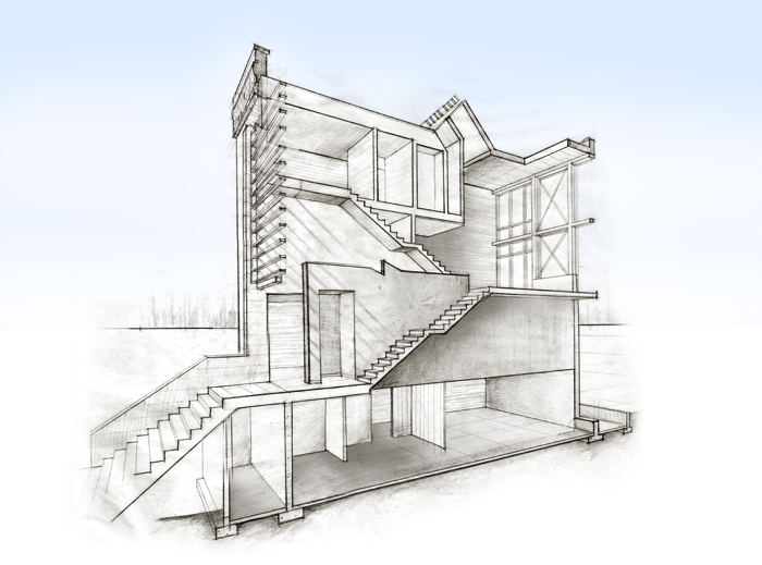 Hand drawn, stepped sectional perspective with three cut planes illustrating the volumetric variations within the building.