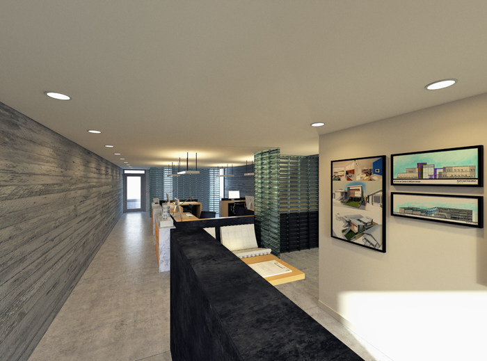 Entry and reception area of basement office space. Depicted as an architecture office.